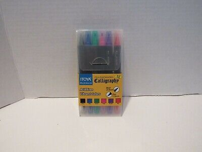 6 Pack Itoya, Double Header Calligraphy Marker,THIN + BROAD Chisel Tip-VALUE PAK