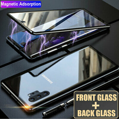 360° Double Sides Glass Magnetic Case Cover for Samsung Galaxy Note10 S10 S9 S8+
