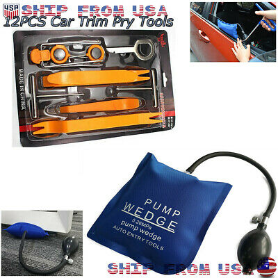 12Pcs Dash Panel Clip Trim Removal Pry Tool Dent Clamp for Door+Air Pump Wedge