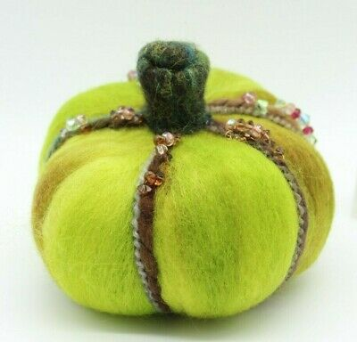 "Green Prim Halloween Needle Felted Pumpkin ""Crystal Harvest"" Melissa Philbrook"