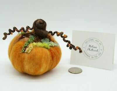 "Orange Prim Halloween Needle Felted Pumpkin ""Crystal Harvest"" Melissa Philbrook"