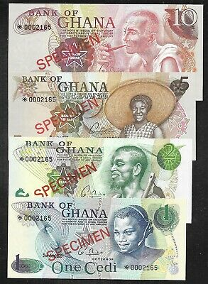 Ghana - SPECIMEN Set/4 Notes - 1/2/5/10 Cedis - 1976 - Uncirculated