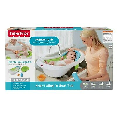 Fisher-Price 4-in-1 Sling Seat Convertible Baby Bath Tub Baby Infant Newborn
