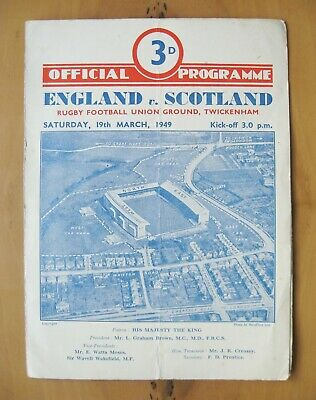 ENGLAND v SCOTLAND 1949 Rugby Union Programme *Good Condition*