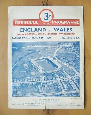 ENGLAND v WALES 1950 Rugby Union Programme *Good Condition*