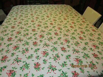 Vintage Christmas Tablecloth Lot Of 2 Floral Holly Poinsettia Red White Green