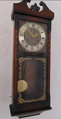 Large Vintage Wood ACCTIM 31 Day Wall Clock Pendulum Chimes Mechanical - W20