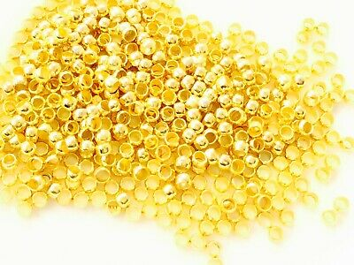Gold Plated Crimp End Beads Round Crimp Beads jewelry Supplies-CHOOSE Size!!!