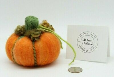 Needle Felted Orange Halloween Pumpkin Wool Art Sculpture Autumn Fall Decor USA