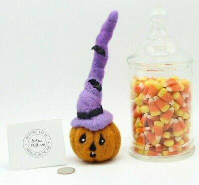 Halloween Prim Needle felted wool Pumpkin witch Folk Art Doll Melissa Philbrook