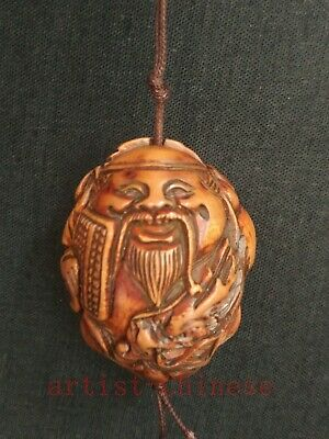 Collection Old China Hand Carving Olivary Dragon god of Wealth Statue Pendant