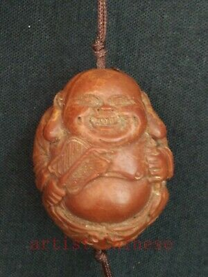 Unique Collection Old China Hand Carving Olivary Maitreya Buddha Statue Pendant