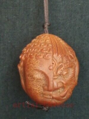 Rare Collection Old China Hand Carving Olivary Demon Buddha Statue Pendant 一念之差