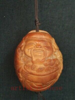 Collection Old China Hand Carving Olivary god of Wealth Buddha Statue Pendant