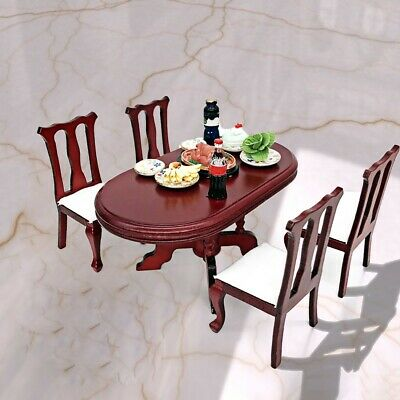 Dollhouse Wooden MIniature Furniture Chair Kitchen/Working Wood Table 1:12 Decor