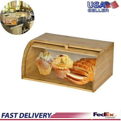 Wood Bread Box Bamboo Roll Top lid Loaf Container Kitchen Food Storage Large USA