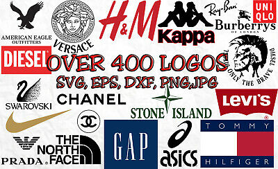 Fashion Brand Logos In Svg, Eps, Png, Dxf, Jpeg, 400 Designs Bundle, Cut Files
