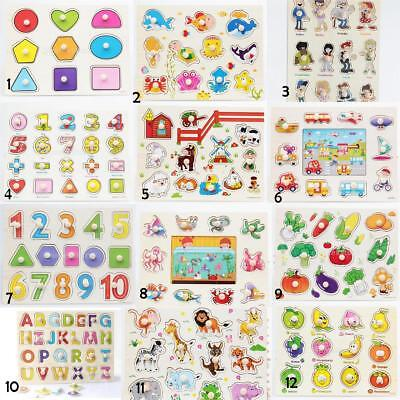 Kid/Toddler Peg Jigsaw Letter Puzzle Animal Baby Developmental Wooden Game Toy z