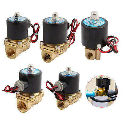 2 Way SOLENOID VALVE AIR WATER GAS OIL BRASS NORMALLY CLOSED 12V 24V 240V AC/DC