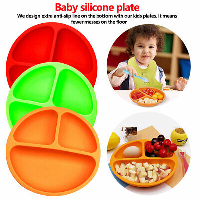 Children Feeding Plates Baby Silicone Dining Plate BPA-Free Smile Face Tableware