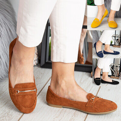Womens Ladies Loafers Slip On Faux Suede Flats Work Office School Shoes Size