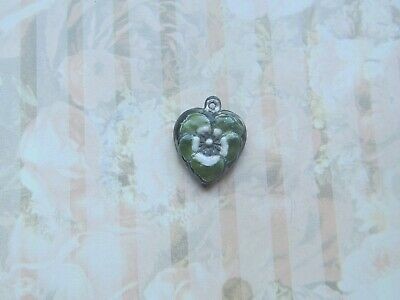 Vintage Sterling silver enameled puffy heart charm- OLIVE GREEN & WHITE pansy