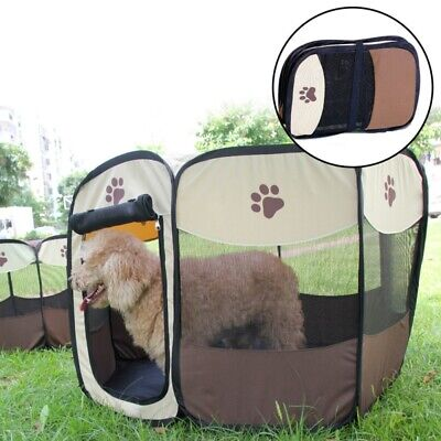 Pet Dogs Cat Playpen Tent Portable Exercise Fence Kennel Cage Soft Crate House