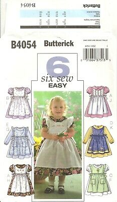 Butterick B4054 Girl's Size 1-4 Dresses & Pinafores Sewing Pattern Oop