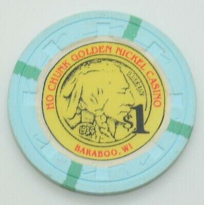 Ho Chunk Golden Nickel $1 Casino Chip Baraboo Wisconsin H&C Paul-son Mold