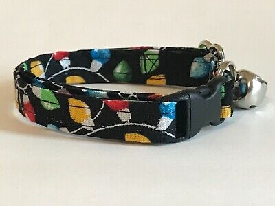 CHRISTMAS LIGHTS ON BLACK CAT OR KITTEN COLLAR (you choose the size)