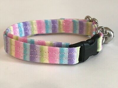 PASTEL STRIPES EASTER STRIPES CAT OR KITTEN COLLAR (you choose the size)