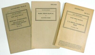 WWII Manual Lot: M1917 Rifle, M1905 Bayonet & ID of US Armored Vehicles