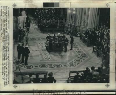 1969 Press Photo Pallbearers salute casket of Dwight D. Eisenhower in Cathedral.