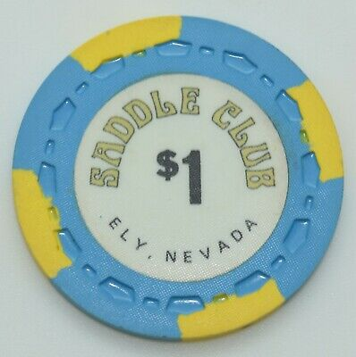 1978 Saddle Club $1 Casino Chip Ely Nevada Sm-Crown Mold