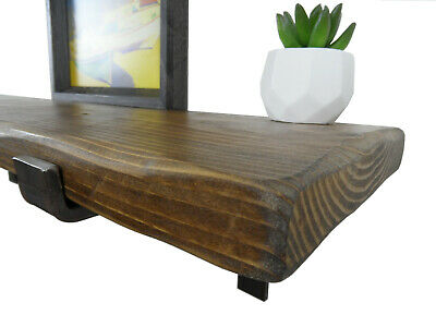 Rustic Pine Scaffold Board Shelf Jacobean Oak 1m LONG x 225mm Deep - Distressed