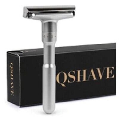 Genuine QShave Adjustable Safety Razor, 1-6 Settings 5 blades Included