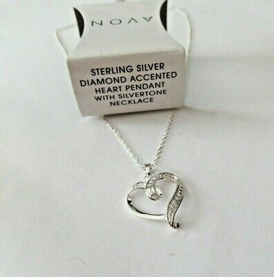 Avon Nos New Old Stock Sterling Silver Diamond Accented Necklace