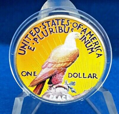 1922 S Silver Peace Two Sided Colorized Dollar w/Air Tight