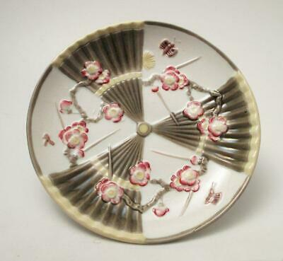 Antique Wedgwood Majolica Blossom Fan & Butterfly Plate Aesthetic Movement