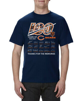 100 years anniversary of CHICAGO BEARS T-Shirt Signature For Fan Footbalt Navy