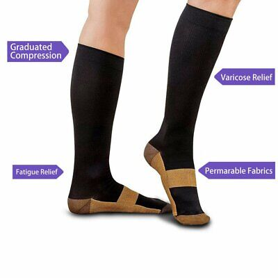 Miracle Copper Compression Socks Anti Fatigue Travel DVT Comfort Stocking NEW TS
