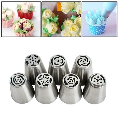 7Pcs Russian Tulip Flower Cake Icing Piping Nozzles Decorating Tips Baking