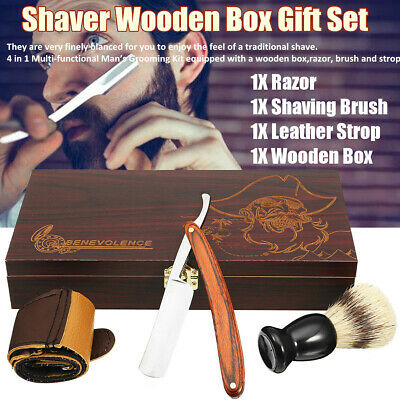 Steel Razor Shavers Kit Cut Throat Straight Men Shaving Brush Set Barber Salon