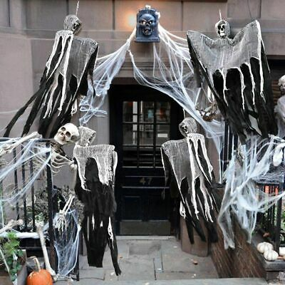 Skull Halloween Hanging Ghost Haunted House Grim Reaper Horror Props Decor RX
