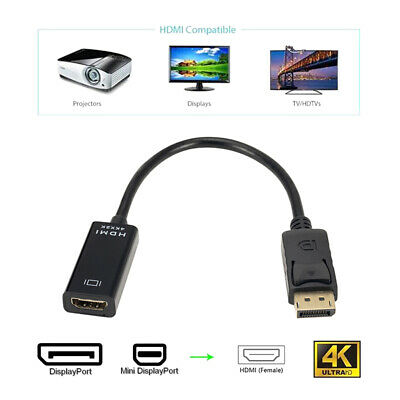 Display Port DP Male to HDMI Active Adapter - Supports Ultra HD 4K 1080P Black