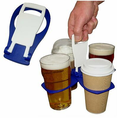 4 Cup Pint Beer Coffee Drinks Holder Carrier Carry Folding Take Away Drink Tray