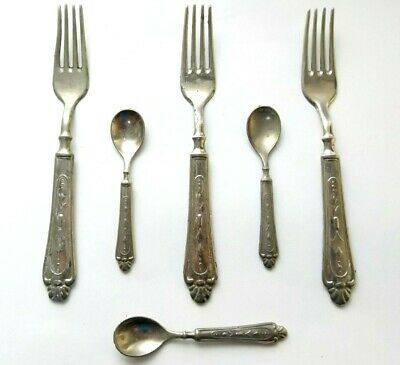 Italian Silver Plated Spoons & Forks Vintage Set Rogers Style Lot 6 Pc Antique