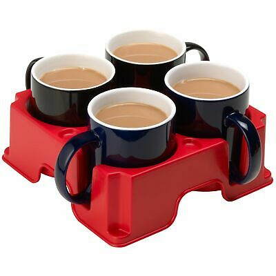 4 Cup Mug Coffee Drinks Holder Carrier Carry Take Away Drink Tray Fits most mugs