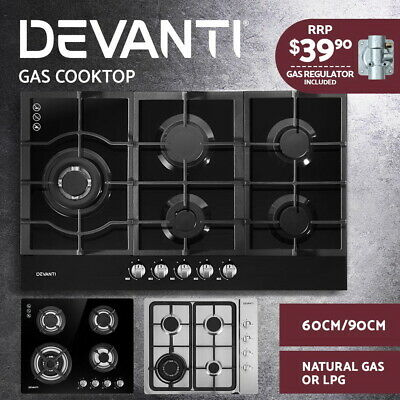 Devanti Gas Cooktop 90cm 60cm Glass Steel Stove Hob Cooker 4/5 Burner NG LPG