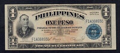 1944 Pick S672 Philippines 1 Peso WWII XF